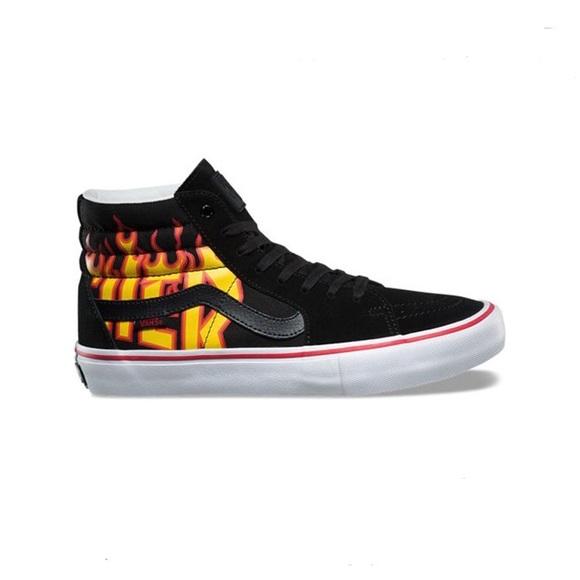 8cc765d071b9 Vans sk8-hi thrasher sneaker shoes black fire